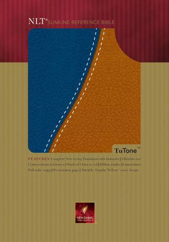 Slimline Reference Bible NLT1, TuTone - Imitation Leather Navy/Tan