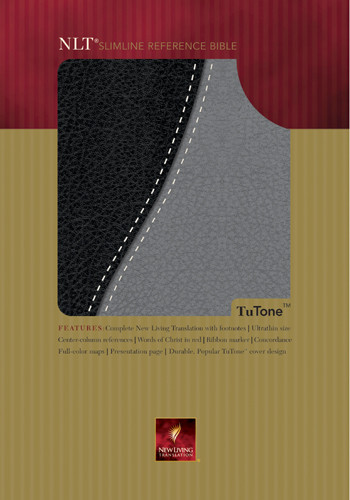 Slimline Reference Bible NLT1, TuTone - Imitation Leather Black/Grey