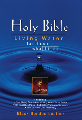 Living Water Bible: NLT1 - Bonded Leather Black With ribbon marker(s)