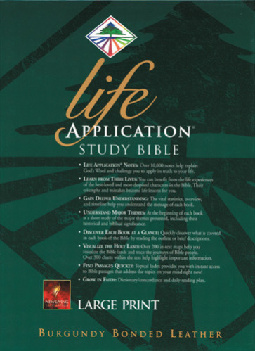 Life Application Study Bible Large Print: NLT1 - Bonded Leather Burgundy With printed dust jacket and thumb index