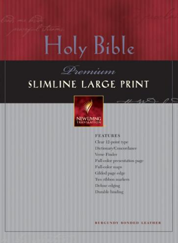 Premium Slimline Bible Large Print: NLT1 - Bonded Leather Burgundy