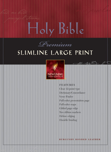 Premium Slimline Bible Large Print: NLT1 - Bonded Leather Burgundy With thumb index