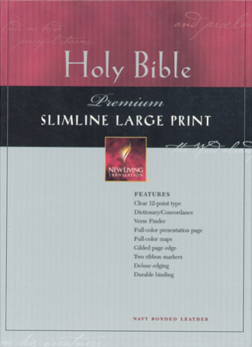 Premium Slimline Bible Large Print: NLT1 - Bonded Leather Navy With thumb index