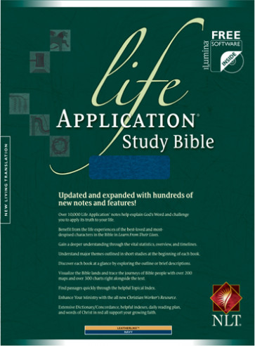 Life Application Study Bible NLT - LeatherLike Navy With thumb index and ribbon marker(s)
