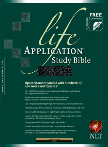 Life Application Study Bible NLT - Genuine Leather Black With thumb index and ribbon marker(s)