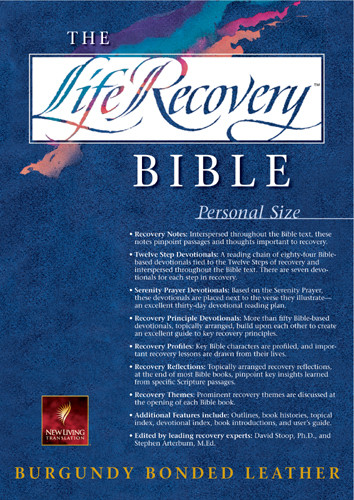 The Life Recovery Bible Personal Size: NLT - Bonded Leather Burgundy With ribbon marker(s)