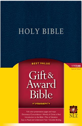 Gift and Award Bible NLT - Imitation Leather Navy