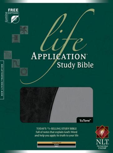 Life Application Study Bible NLT, TuTone - LeatherLike Black/Grey With ribbon marker(s)