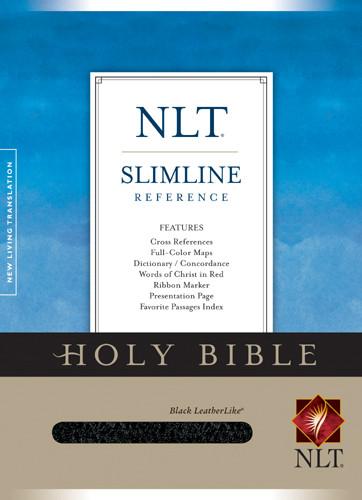 Slimline Reference Bible NLT - LeatherLike Black With ribbon marker(s)