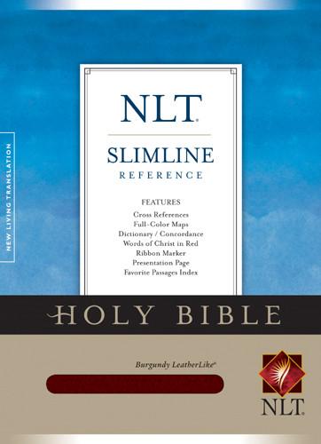 Slimline Reference Bible NLT - LeatherLike Burgundy With ribbon marker(s)