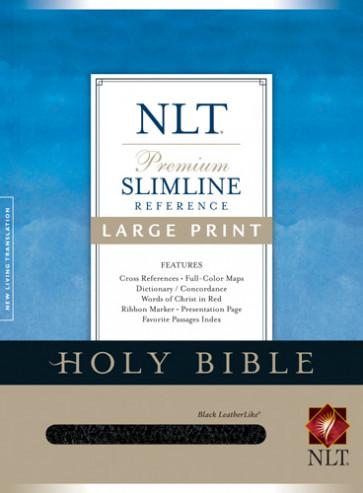 Premium Slimline Reference Bible NLT, Large Print - LeatherLike Black With ribbon marker(s)