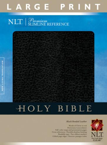 Premium Slimline Reference Bible NLT, Large Print - Bonded Leather Black With ribbon marker(s)