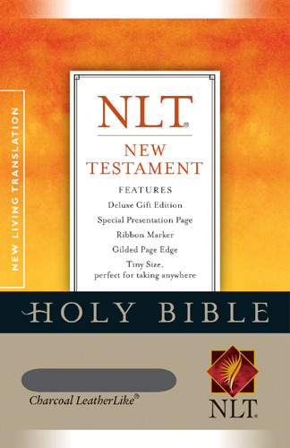 New Testament: NLT - LeatherLike Charcoal With ribbon marker(s)