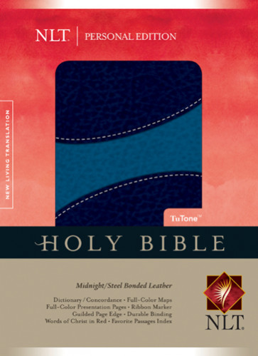 Holy Bible NLT, Personal Edition, TuTone - Bonded Leather Midnight/Steel With ribbon marker(s)