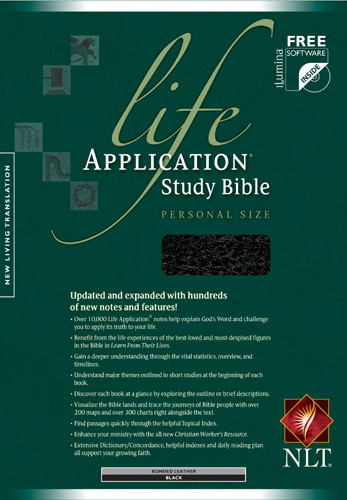 Life Application Study Bible NLT, Personal Size - Bonded Leather Black With ribbon marker(s)