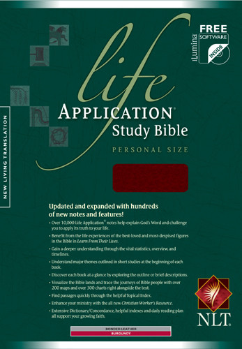 Life Application Study Bible NLT, Personal Size - Bonded Leather Burgundy With ribbon marker(s)