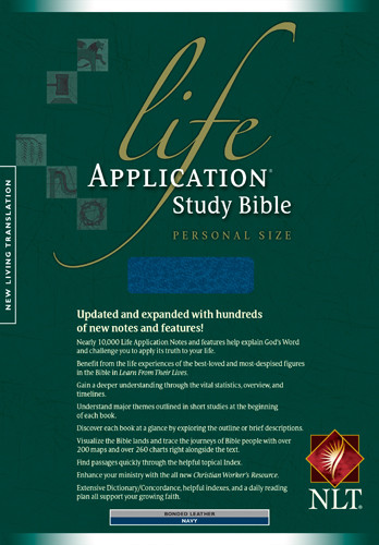 Life Application Study Bible NLT, Personal Size - Bonded Leather Navy With ribbon marker(s)