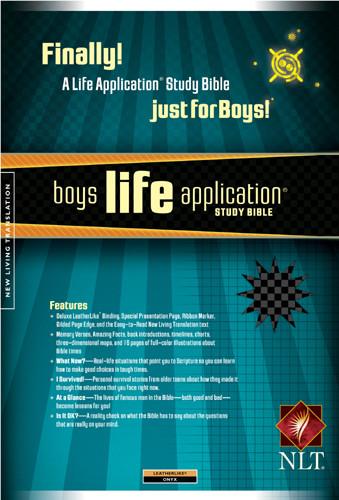 Boys Life Application Study Bible NLT - LeatherLike Onyx With ribbon marker(s)