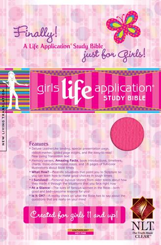 Girls Life Application Study Bible NLT - LeatherLike Hot Pink With ribbon marker(s)
