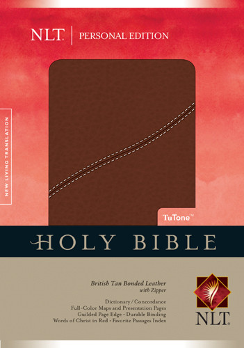 Holy Bible NLT, Personal Edition, TuTone - Bonded Leather British Tan With zip fastener