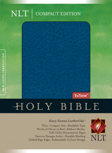 Compact Edition Bible NLT, TuTone - LeatherLike Navy/Sienna With ribbon marker(s)