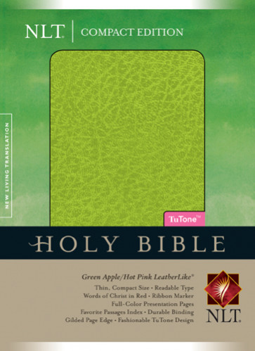 Compact Edition Bible NLT, TuTone - LeatherLike Green Apple/Hot Pink With ribbon marker(s)