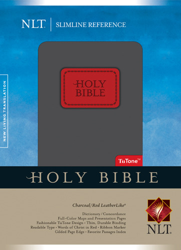 Slimline Reference Bible NLT, TuTone - LeatherLike Charcoal/Red With ribbon marker(s)