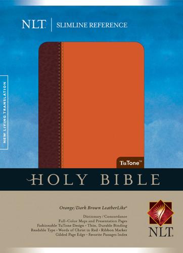 Slimline Reference Bible NLT, TuTone - LeatherLike Dark Brown/Orange With ribbon marker(s)