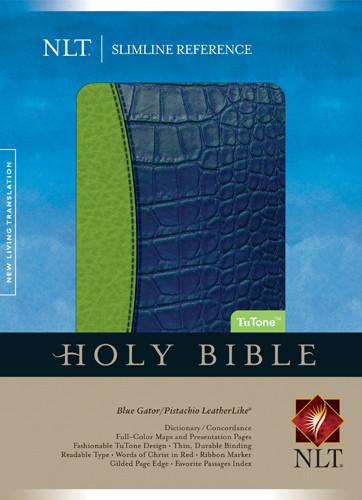 Slimline Reference Bible NLT, TuTone - LeatherLike Blue Gator/Pistachio With ribbon marker(s)