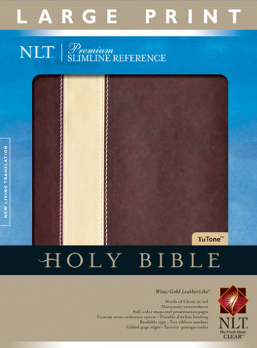 Premium Slimline Reference Bible NLT, Large Print, TuTone - LeatherLike Gold/Wine With ribbon marker(s)