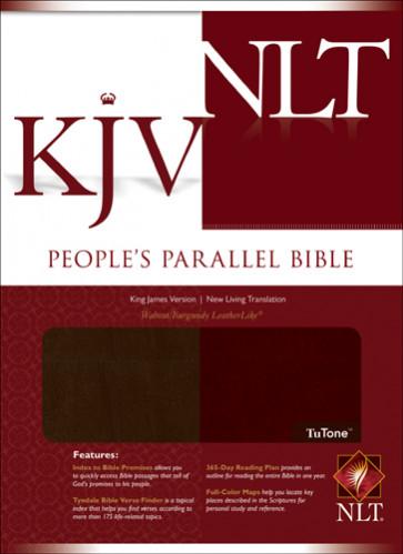 People's Parallel Edition KJV/NLT, TuTone - LeatherLike Walnut/Burgundy