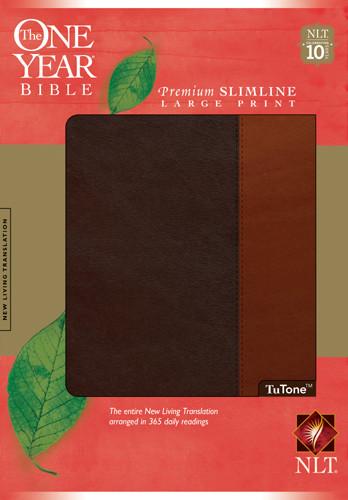 The One Year Bible NIV, Premium Slimline Large Print edition, TuTone - Bonded Leather Brown/Tan