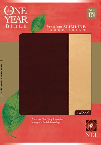 The One Year Bible NIV, Premium Slimline Large Print edition, TuTone - LeatherLike Port/Beige