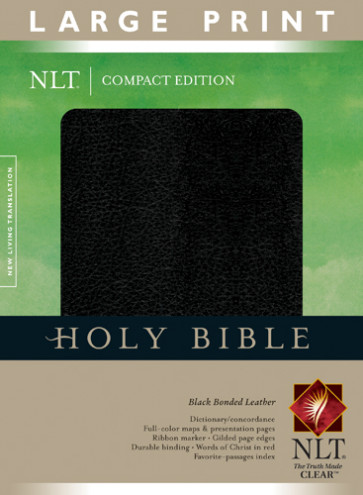 Compact Edition Bible NLT, Large Print - Bonded Leather Black