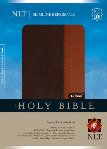 Slimline Reference Bible NLT, TuTone - LeatherLike Brown/Tan
