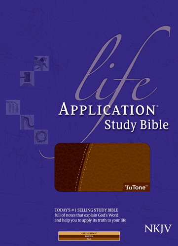 Life Application Study Bible NKJV, TuTone - LeatherLike Brown/Tan