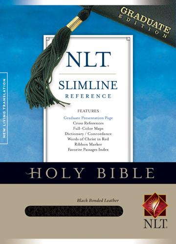Slimline Reference Bible NLT - Bonded Leather Black With ribbon marker(s)