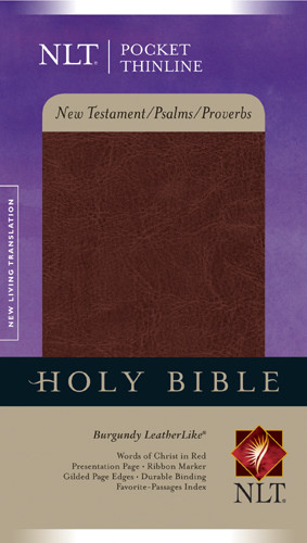 Pocket Thinline New Testament with Psalms & Proverbs NLT - LeatherLike Burgundy With ribbon marker(s)