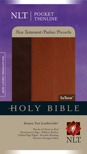 Pocket Thinline New Testament with Psalms & Proverbs NLT, TuTone - LeatherLike Brown/Tan With ribbon marker(s)