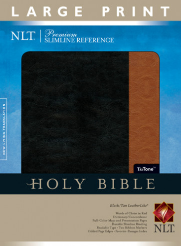 Premium Slimline Reference Bible NLT, Large Print, TuTone - LeatherLike Black/Tan With ribbon marker(s)