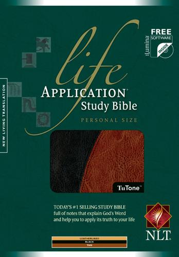 Life Application Study Bible NLT, Personal Size, TuTone - LeatherLike Black/Tan With ribbon marker(s)