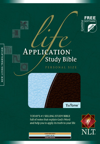 Life Application Study Bible NLT, Personal Size, TuTone - LeatherLike Light Blue/Dark Brown With ribbon marker(s)