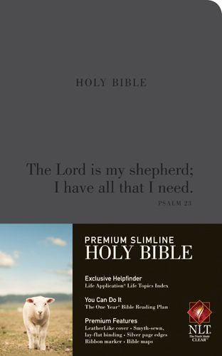 Premium Slimline Bible NLT,  Psalm 23 - LeatherLike Charcoal With ribbon marker(s)