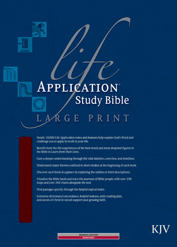 KJV Life Application Study Bible, Second Edition, Large Print (Red Letter, Bonded Leather, Burgundy/maroon, Indexed) - Bonded Leather Burgundy With thumb index and ribbon marker(s)
