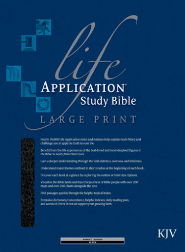 KJV Life Application Study Bible, Second Edition, Large Print (Red Letter, Bonded Leather, Black, Indexed) - Bonded Leather Black With thumb index and ribbon marker(s)