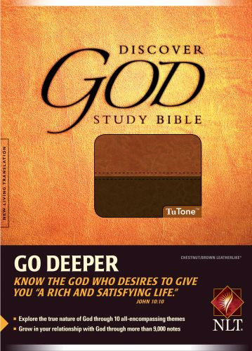 The Discover God Study Bible NLT, TuTone (Red Letter, LeatherLike, Chestnut/Brown) - LeatherLike Brown/Multicolor/Chestnut With ribbon marker(s)