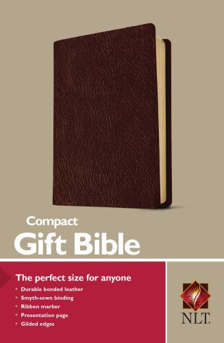 Compact Gift Bible NLT (Bonded Leather, Burgundy/maroon) - Leather, bonded Burgundy/maroon With ribbon marker(s)
