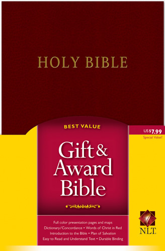 Gift and Award Bible NLT (Red Letter, Imitation Leather, Burgundy/maroon) - Imitation Leather Burgundy