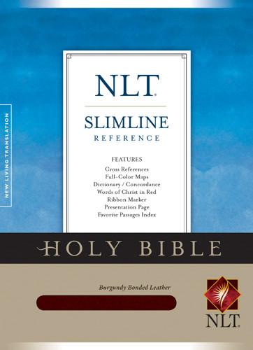 Slimline Reference Bible NLT (Red Letter, Bonded Leather, Burgundy/maroon) - Bonded Leather Burgundy With ribbon marker(s)
