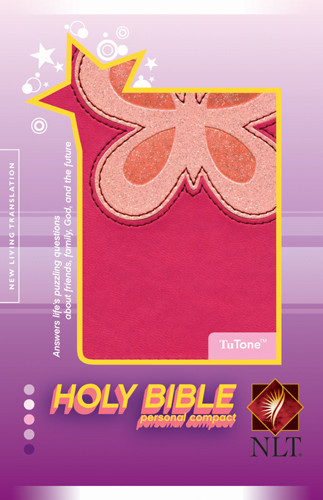 Holy Bible, Personal Compact NLT, TuTone Butterfly (LeatherLike, Magenta/Pink) - LeatherLike Multicolor/Pink/Magenta With ribbon marker(s)